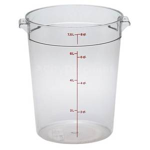 Cambro 12 ea - CamWear Round 8 Qt Clear Food Container w/ Handles - RFSCW8