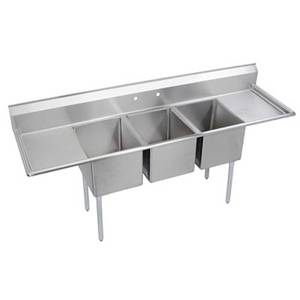 Elkay Foodservice 3 Comp Sink 16x20x12 Bowls Two 18 Drainboards 18/300 - E3C16X20-2-18X