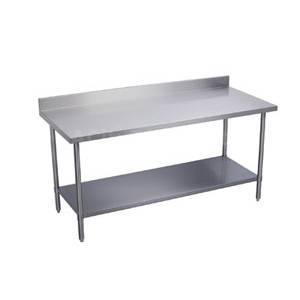 Elkay Foodservice 108 x 24 All S/s Work Table 16/400 4 Backsplash w/ Shelf - BWT24S108-BSX