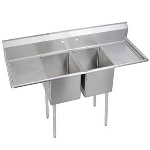 Elkay Foodservice 14-2C18X24-2-18X 2 Comp Sink 18x24x14 Bowls 16/300 S/s Two 18 Drainboards