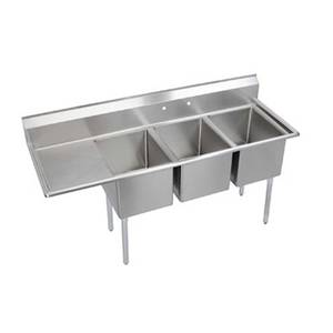 Elkay Foodservice 3 Comp Sink 18x24x14 Bowl 16/300 Stainless 24 Drainboard - 14-3C18X24-*-24X