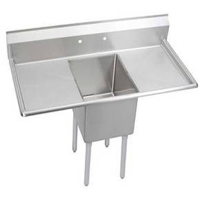 Elkay Foodservice 1C18X24-2-18X 1 Comp Sink 18x24x12 Bowl 16/300 S/s Two 18 Drainboards