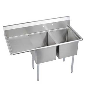 Elkay Foodservice 2C24X24-*-24X 2 Compartment Sink 24x24x12 Bowl 16/300 Ss 24 Drainboard