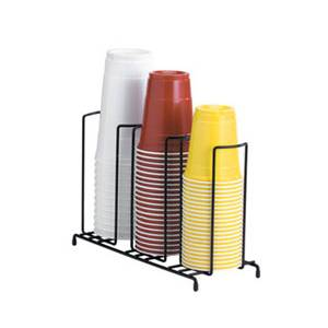 Dispense-Rite 3 Section Lid & Cup Dispenser Wire Rack Organizer Black - WR-3
