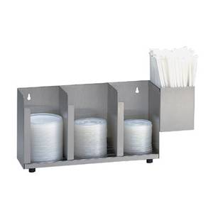 Dispense-Rite CTLD-15A 3 Section SS Cup and Lid Organizer w/ SH-1 Straw Attachment