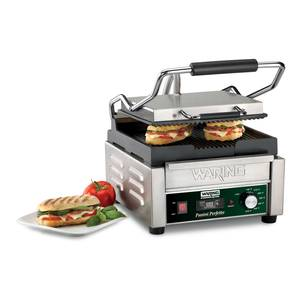 Waring 9.75in x 9.25in Ribbed Sandwich Panini Grill w/ Timer 208v - WPG150TB
