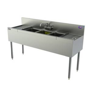 Perlick 36 Stainless Underbar 3 Compartment Sink Unit - TS33C