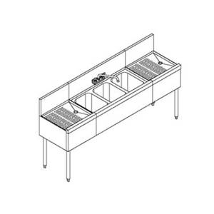 Perlick TS43* 48 Stainless Underbar 3 Compartment Sink Unit w/ Drainboard