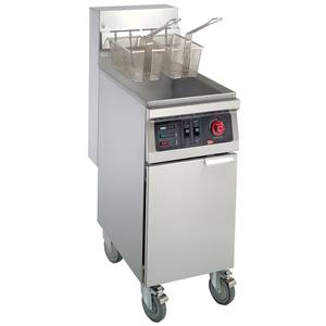 GMCW 40 lb. Floor Model Heavy Duty Stainless Steel Gas Fryer - FMS40