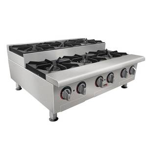 APW Wyott GHPS-4I Champion 24 Manual Nat Gas Hot Plate Step-Up w/ 4 Burners