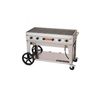 Crown Verity, Inc. 48in S/S Single Inlet Outdoor Rental Charbroiler Grill - LP - RCB-48-SI-LP