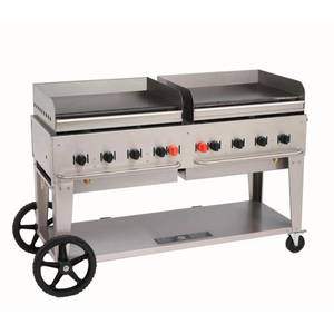 Crown Verity, Inc. 60in Stainless Steel Liquid Propane Mobile Outdoor Griddle - MG-60LP