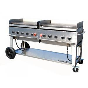 Crown Verity, Inc. 72in Stainless Steel Natural Gas Mobile Outdoor Griddle - MG-72NG