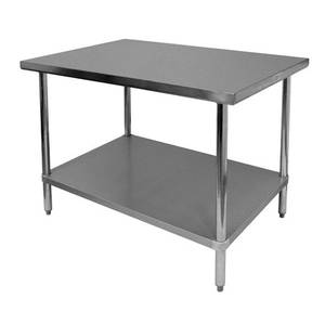 Thunder Group Flat Top Work Table Stainless Steel 30 x 48 x 34 - SLWT43048F