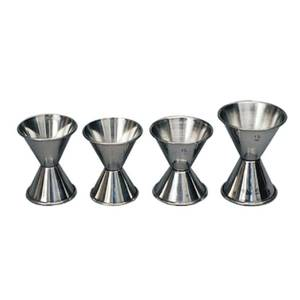 Spill-Stop Jigger 3/4 oz x 1 oz Stainless Steel Set of 12 - 100-13