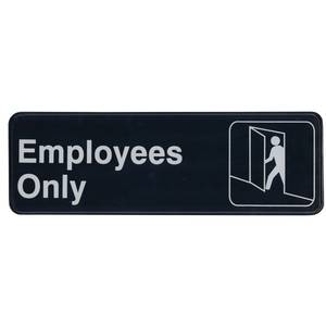 Update 3 x 9 Employees Only Sign - Black Plastic - S39-4BK