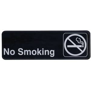 Update 3 x 9 No Smoking Sign - Black Plastic - S39-11BK