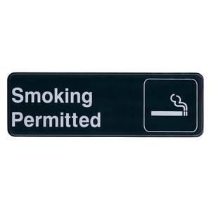Update 3 x 9 Smoking Permitted Sign - Black Plastic - S39-12BK