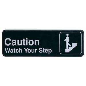 Update 3 x 9 Caution Watch Your Step Sign - Black Plastic - S39-29BK