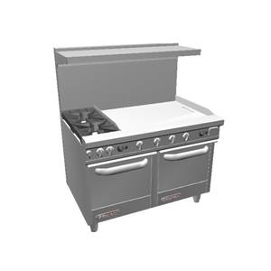 Southbend 48 S-Series Range w/ Space Saver Ovens & 36 Therm. Griddle - S48EE-3T