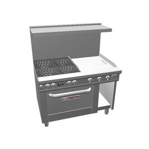 Southbend 48 Ultimate Range - Wavy Grates, 24 Thm Griddle & Std Oven - 4482DC-2T