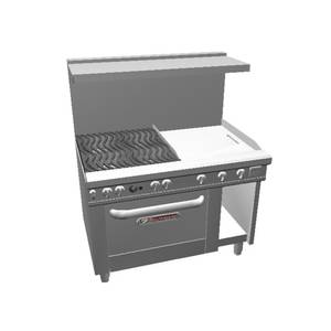 Southbend 48 Ultimate Range - Wavy Grates, 24 Thm Griddle & Cnv Oven - 4482AC-2T
