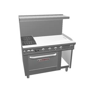 Southbend 48 Ultimate Range - Wavy Grates, 36 Thm Griddle & Std Oven - 4482DC-3T