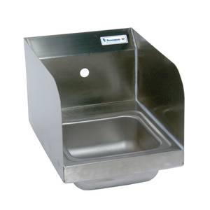 BK Resources Stainless Hand Sink 12x16 w/ Faucet, Drain & Side Splashes - BKHS-W-SS-SS-P-G