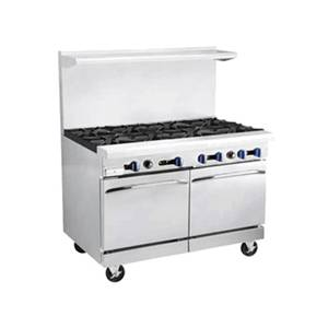 Market Forge 48in SS Heavy Duty Range Gas w/ 4 Burners 24in Griddle - R-RG24-4