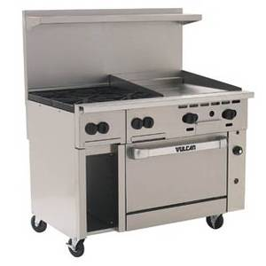 Vulcan Endurance 48 Range 4 Burners and 24 Manual Griddle w/ Oven - 48S-4B24G