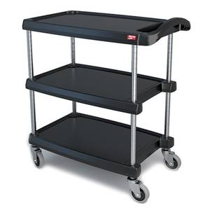 Metro 3 Tier Small Black Bus Cart with Chrome Plated Legs - MY1627-34BL