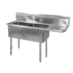 BK Resources Two 16x20x12 Compartment Sink S/s Legs Drainboard Right - BKS-2-1620-12-18RS