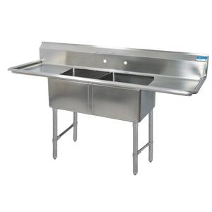BK Resources Two 20x20x12 Compartment Sink S/s Leg 18 Drainboard L&R - BKS-2-20-12-18TS