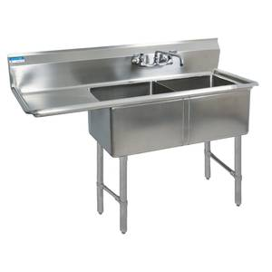 BK Resources Two 24x24x14 Compartment Sink S/s Leg 24 Left Drainboard - BKS-2-24-14-24LS