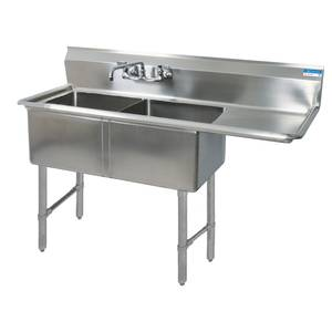BK Resources Two 24x24x14 Compartment Sink S/s Legs Drainboard Right - BKS-2-24-14-24RS