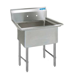 BK Resources 18x18x12 One Compartment Sink w/ S/s Legs - BKS-1-18-12S
