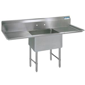 BK Resources One 18x18x12 Compartment Sink S/s Leg 18 Drainboard L&R - BKS-1-18-12-18TS