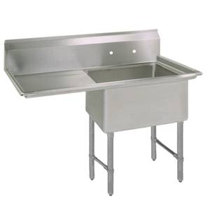 BK Resources One 24x24x14 Compartment Sink Left Drainboard - BKS-1-24-14-24L