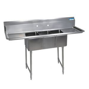 BK Resources (3) 10x14x10 Compartment Sink S/s Legs 15 Drainboard L&R - BKS-3-1014-10-15TS
