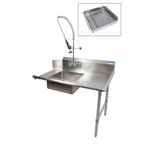 BK Resources 36 Soiled Dishtable Right w/ Pre-Rinse Faucet & Basket - BKSDT-36-R-SS-P3-G