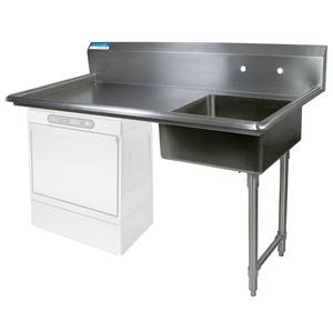 BK Resources 50 Undercounter Soiled Dishtable Right Side w/ S/s Legs - BKUCDT-50-R-SS