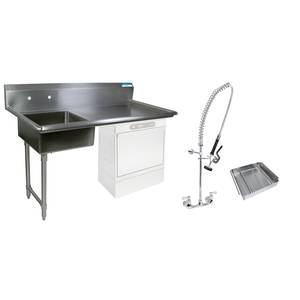BK Resources 60 Undercounter Soiled Dishtable Left w/ Faucet & Basket - BKUCDT-60-L-SS-P3-G