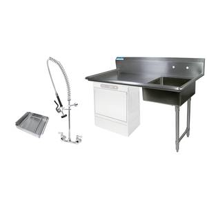 BK Resources 60 Undercounter Soiled Dishtable Right w/ Faucet & Basket - BKUCDT-60-R-SS-P3-G