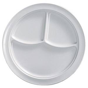 Thunder Group 1 Dz Nustone White 10 Melamine 3 Compartment Plate, NSF - NS702W