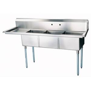 Green World by Turbo Air (3) 24x24x14 Compartment Sink Left Drainboard - TSB-3-L2