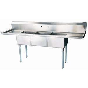 Green World by Turbo Air Turbo Air (3) 18x18x14 Compartment Sink Two Drainboards - TSA-3-14-D1