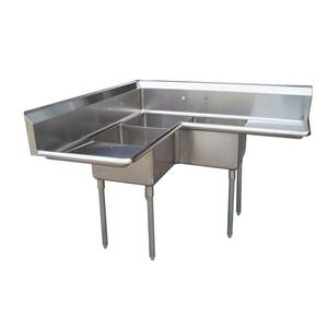 Green World by Turbo Air Turbo Air (3) Compartment Corner Sink w/ Two Drainboards - TSA-3C-D1