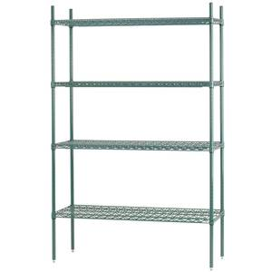 Advance Tabco 60 x 24 Green Epoxy Wire Shelving Unit w/ 74 Posts - EGG-2460-X