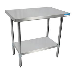 BK Resources 36x 24 Work Table 18G Stainless Steel Top w/Turndown Edges - SVT-3624