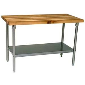John Boos 60x24 Work Table 1-3/4 Laminated Flat Top Galvanized Legs - HNS03